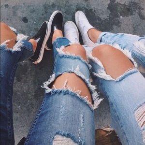 Super distressed mom jeans